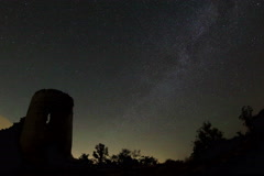 4K. Time lapse of stars behind Syuyrenskaya fortress VI-XI centuries Stock Footage