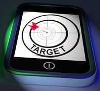 Target smartphone displays goals aims and objectives Stock Illustration