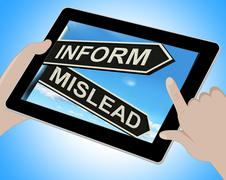 Inform mislead tablet means let know or misguide Stock Illustration