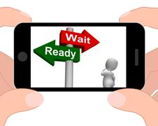 Ready wait signpost displays prepared  and waiting Stock Illustration