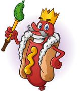 Hot Dog King Cartoon Character - stock illustration