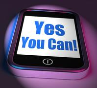 yes you can on phone displays motivate encourage success - stock illustration