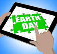 earth day tablet shows conservation and environmental protection - stock illustration