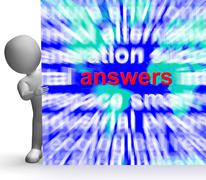 Answers word cloud sign shows help support answer Stock Illustration