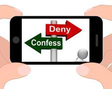 Confess deny signpost displays confessing or denying guilt innocence Stock Illustration