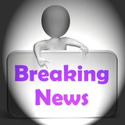breaking news sign displays up-to-date reporting on events - stock illustration