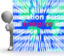 Stock Illustration of inspiration word cloud sign shows motivation and encouragement