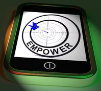 Stock Illustration of empower smartphone displays provide tools and encouragement