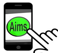 Aims button displays targeting purpose and aspiration Stock Illustration