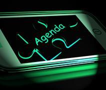 Agenda smartphone displays internet calendar and schedule Stock Illustration