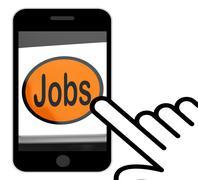 jobs button displays hiring recruitment online hire job - stock illustration