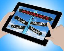 insurance tablet mean claim excess contract and policy - stock illustration