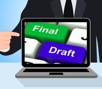 final draft keys displays editing and rewriting document - stock illustration