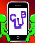 Club on phone displays group team league association Stock Illustration