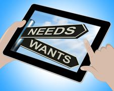 needs wants tablet means necessity and desire - stock illustration