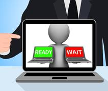 Ready wait laptop displays prepared  and waiting Stock Illustration