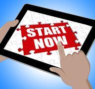 Stock Illustration of start now tablet shows commence or begin immediately