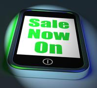 sale now on phone displays promotional savings or discounts - stock illustration