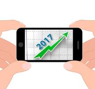 Graph 2017 displays future earnings and profits Stock Illustration