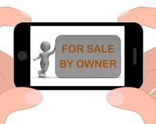 Stock Illustration of for sale by owner phone means property or item listing