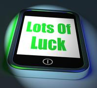 Stock Illustration of lots of luck on phone displays good fortune