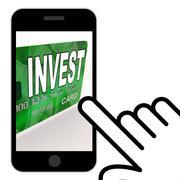 Invest on credit debit card displays investing money Stock Illustration