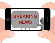 Stock Illustration of breaking news phone shows major developments and bulletin