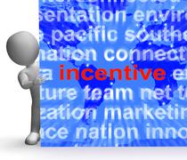 Incentive word cloud sign shows bonus inducement reward Stock Illustration