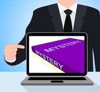 Mystery book laptop shows fiction genre or puzzle to solve Stock Illustration