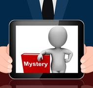 Mystery book and character displays fiction genre or puzzle to solve Stock Illustration