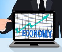 Economy graph chart displays increase economic fiscal growth Piirros