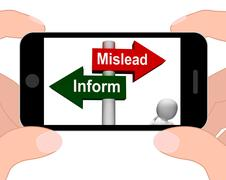 Mislead inform signpost displays misleading or informative advice Stock Illustration