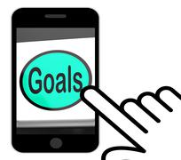 Goals button displays aims objectives or aspirations Stock Illustration