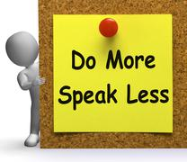 Do more speak less note means be productive or constructive Stock Illustration