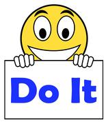 Do it on sign shows act immediately Stock Illustration