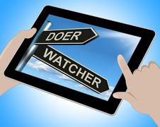 Doer watcher tablet means active or observer Stock Illustration