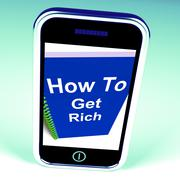 how to get rich on phone represents getting wealthy - stock illustration