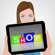 Stock Illustration of shop bags displays retail shopping and buying