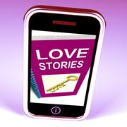 love stories phone gives tales of romantic and loving feelings - stock illustration