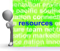 Resources word cloud sign shows assets human financial input Stock Illustration