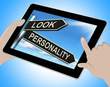 Look personality tablet shows appearance and character Stock Illustration
