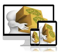 we deliver boxes displays transportation and delivery service - stock illustration