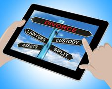 Stock Illustration of divorce tablet means custody split assets and lawyers
