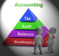 Accounting pyramid means paying taxes auditing or bookkeeping Stock Illustration