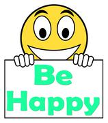 Be happy on sign shows cheerful happiness Piirros