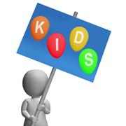 Kids sign show children toddlers or youngsters Stock Illustration
