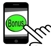 Stock Illustration of bonus button displays extra gift or gratuity online