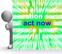 Stock Illustration of act now word cloud sign shows inspired activity