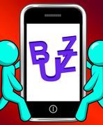 Stock Illustration of buzz on phone displays awareness exposure and publicity