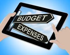 budget expenses tablet means business accounting and balance - stock illustration